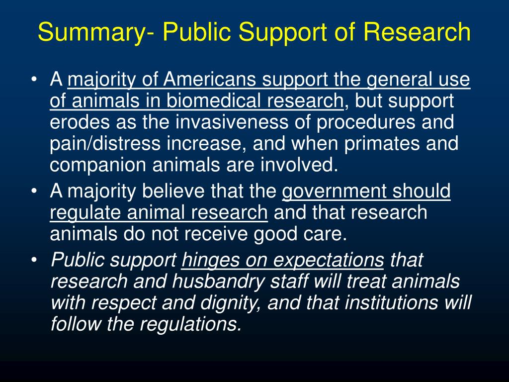 Summary- Public Support of Research