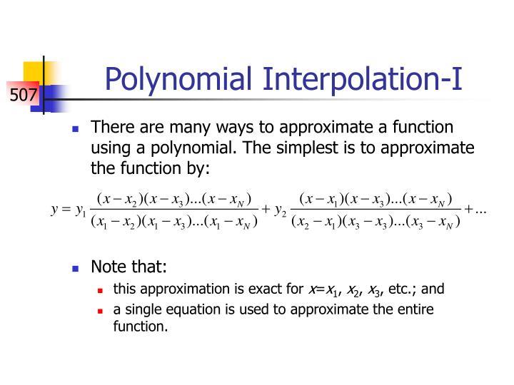 Polynomial Interpolation-I