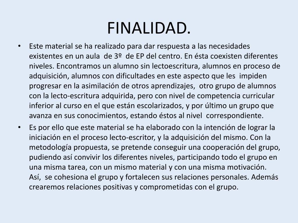 FINALIDAD.