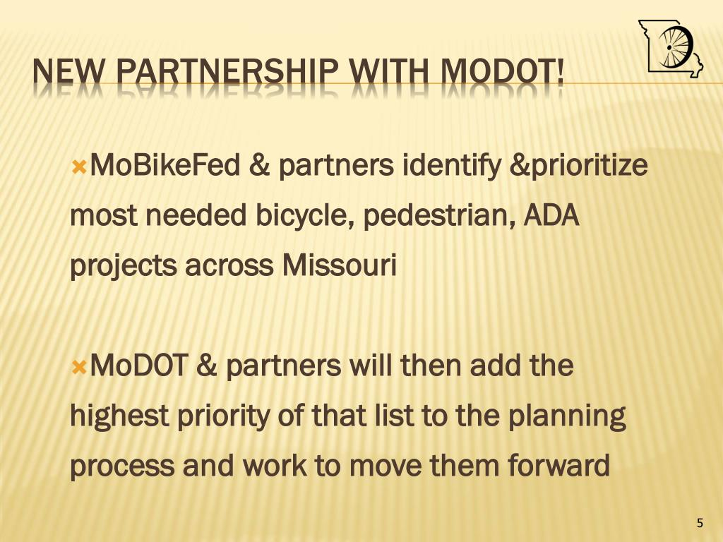 MoBikeFed & partners identify &prioritize most needed bicycle, pedestrian, ADA projects across Missouri