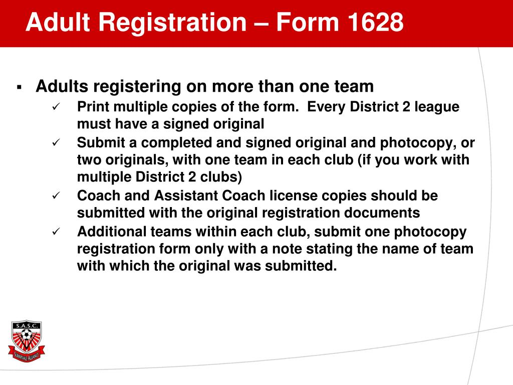 Adult Registration – Form 1628
