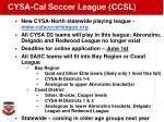cysa cal soccer league ccsl