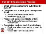 fall 2010 registration process