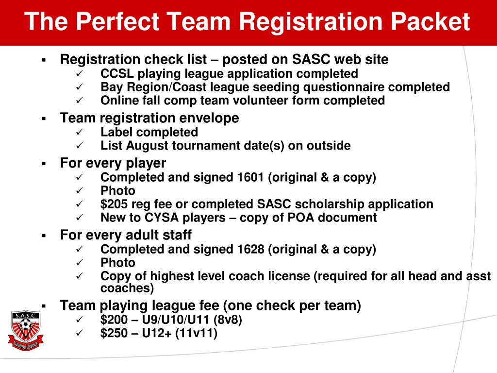 The Perfect Team Registration Packet