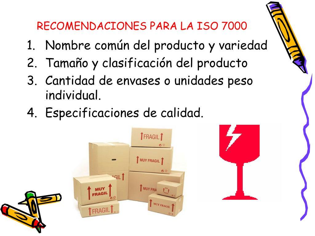RECOMENDACIONES PARA LA ISO 7000