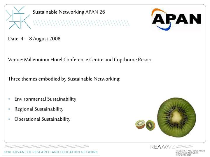 Sustainable networking apan 26