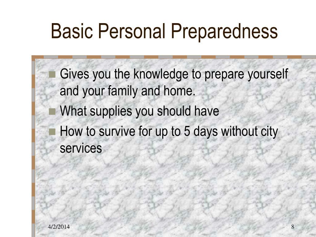 Basic Personal Preparedness