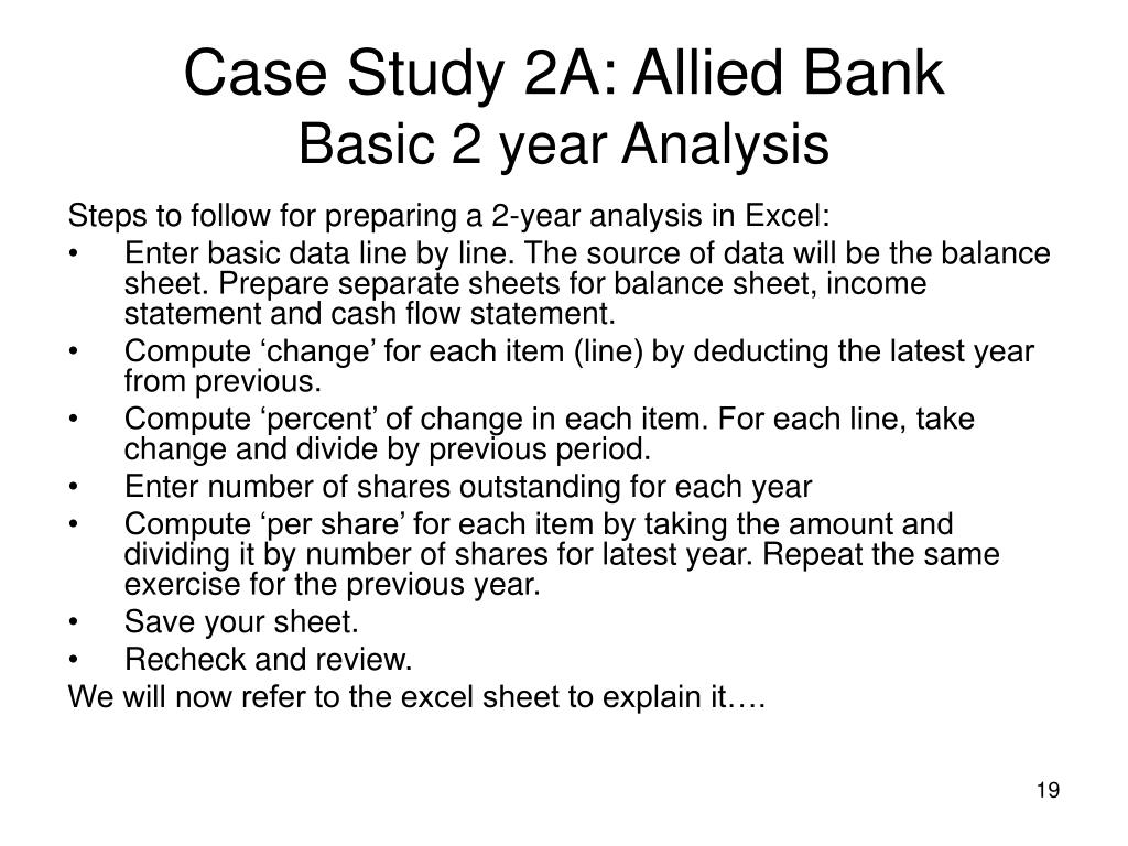 Case Study 2A: Allied Bank