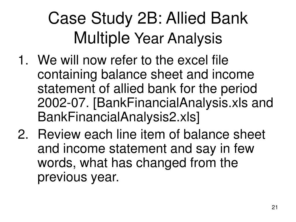 Case Study 2B: Allied Bank