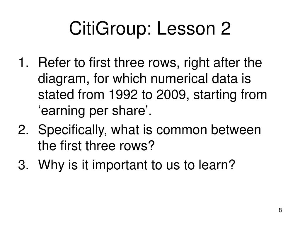 CitiGroup: Lesson 2