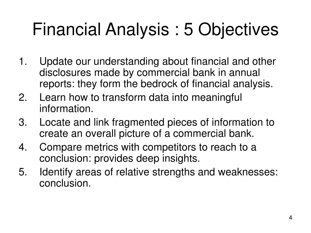 Financial Analysis : 5 Objectives