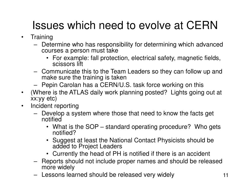 Issues which need to evolve at CERN