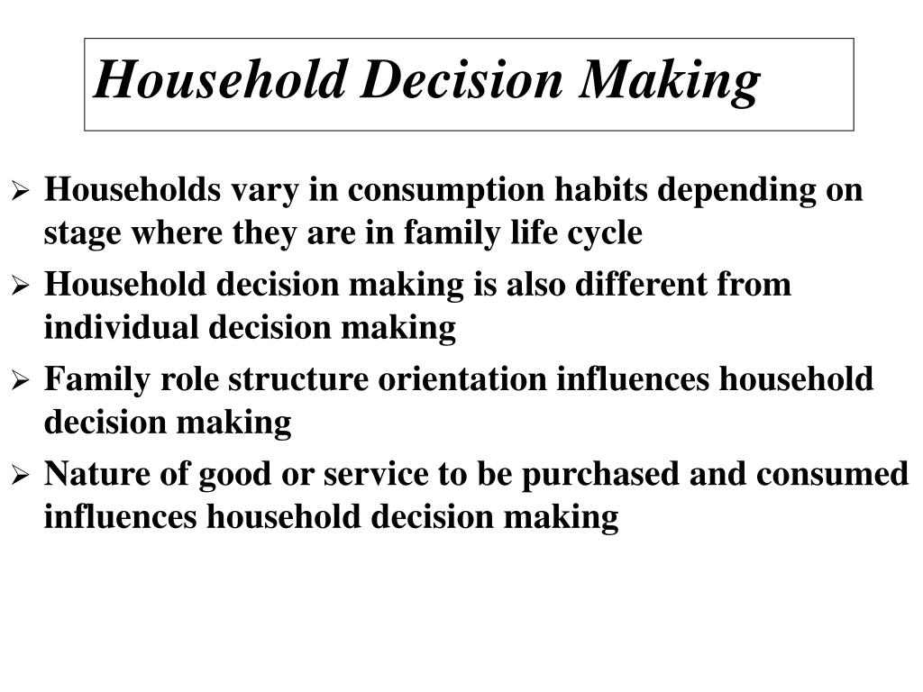 Households vary in consumption habits depending on stage where they are in family life cycle
