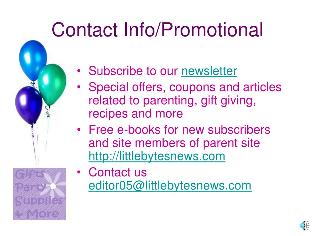 Contact Info/Promotional