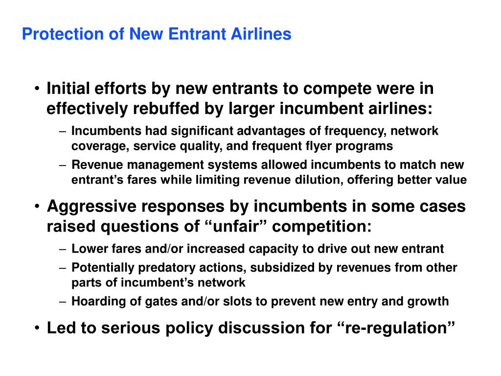 Protection of New Entrant Airlines