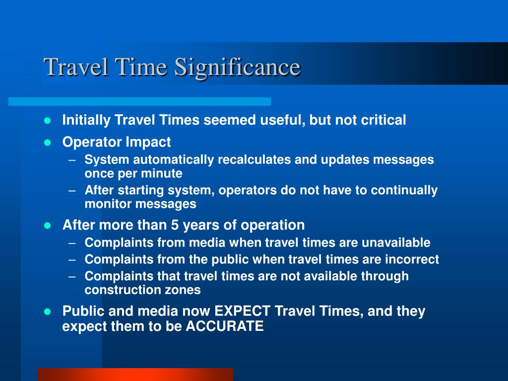 Travel Time Significance