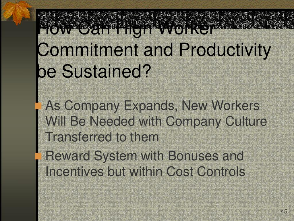 How Can High Worker Commitment and Productivity be Sustained?
