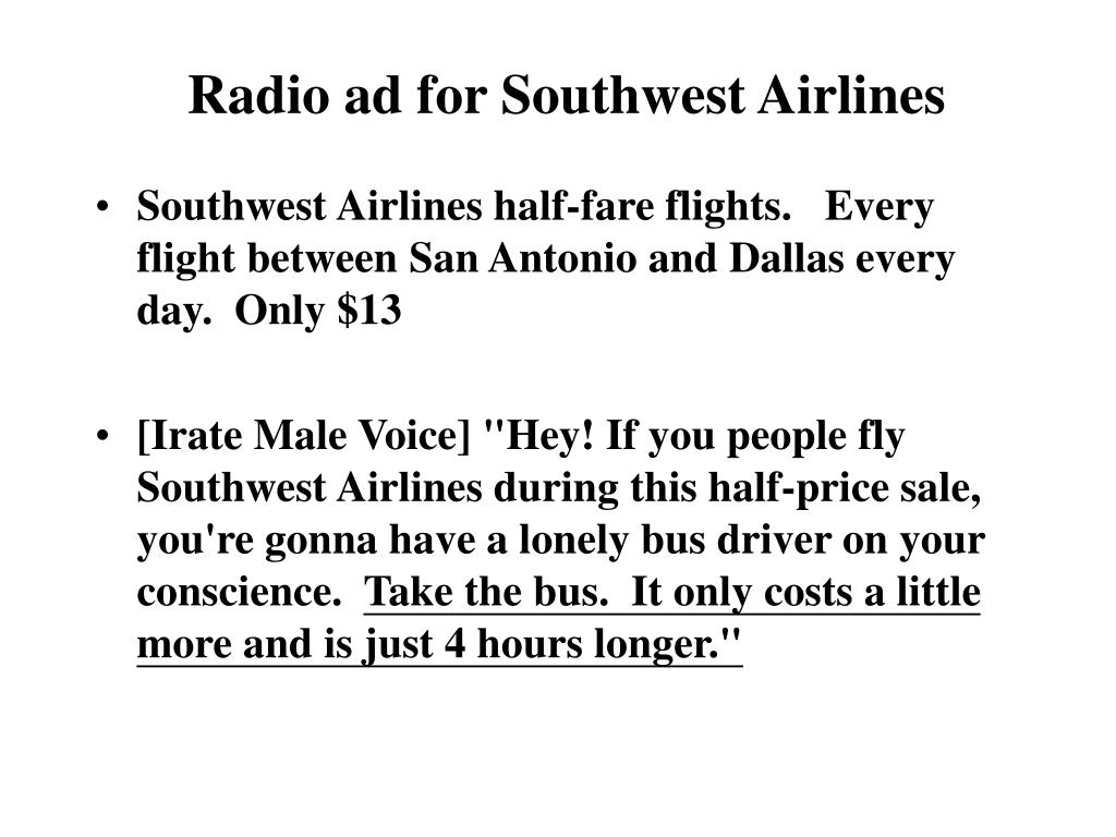Radio ad for Southwest Airlines