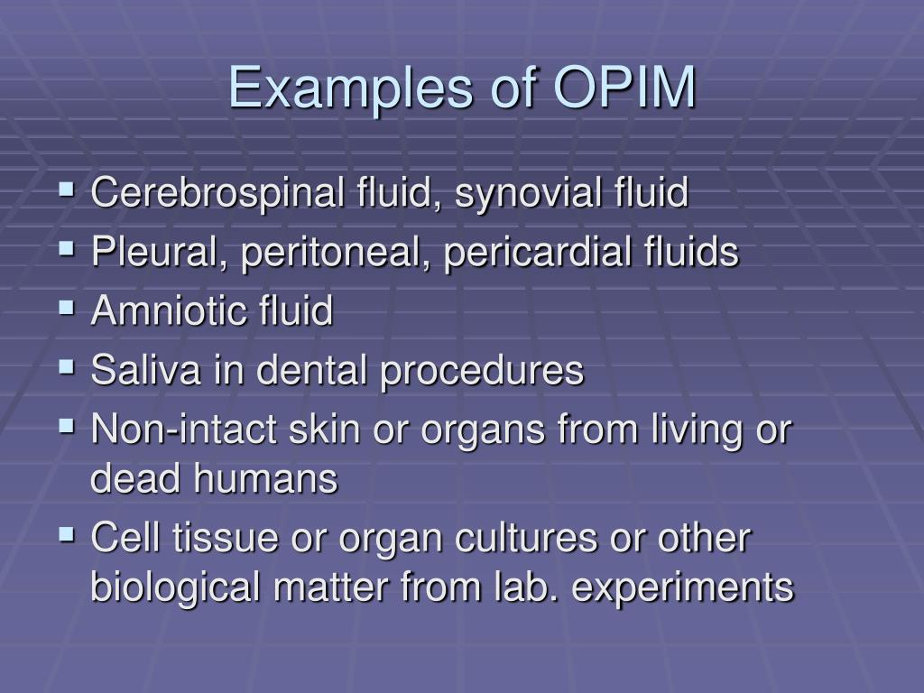 Examples of OPIM