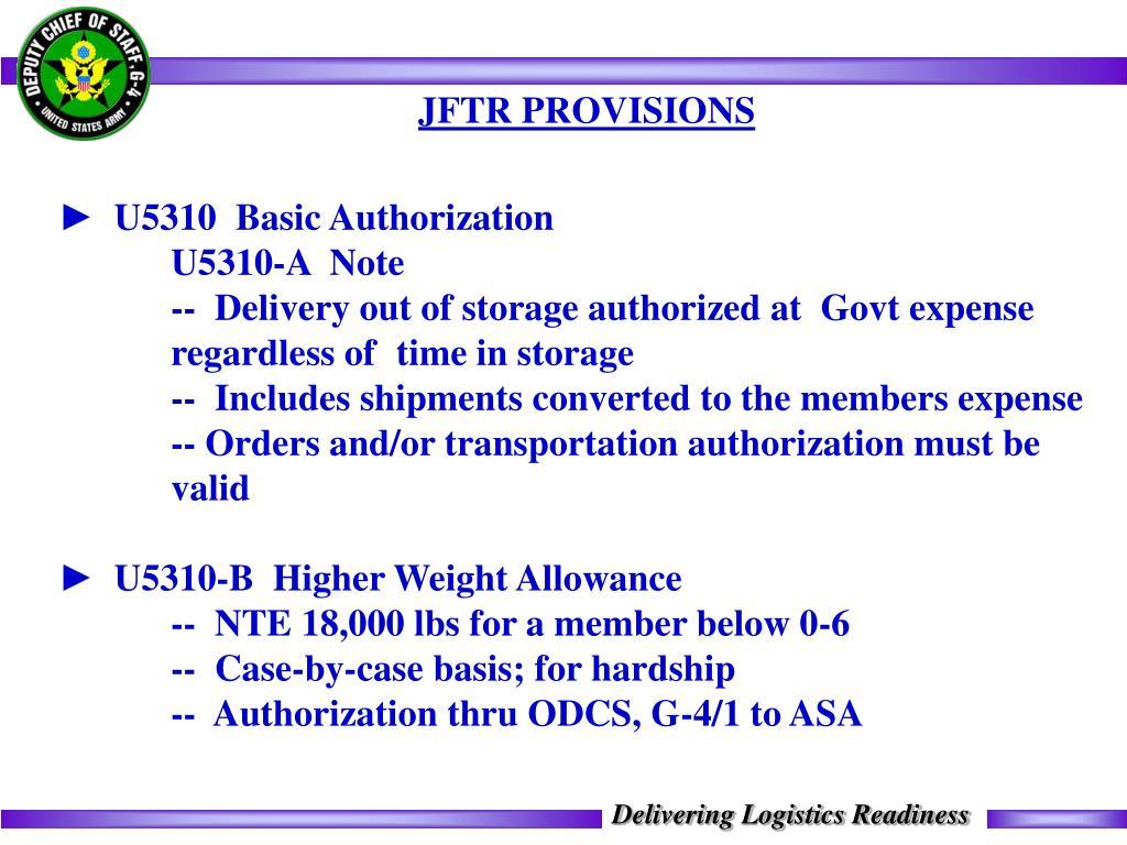 JFTR PROVISIONS