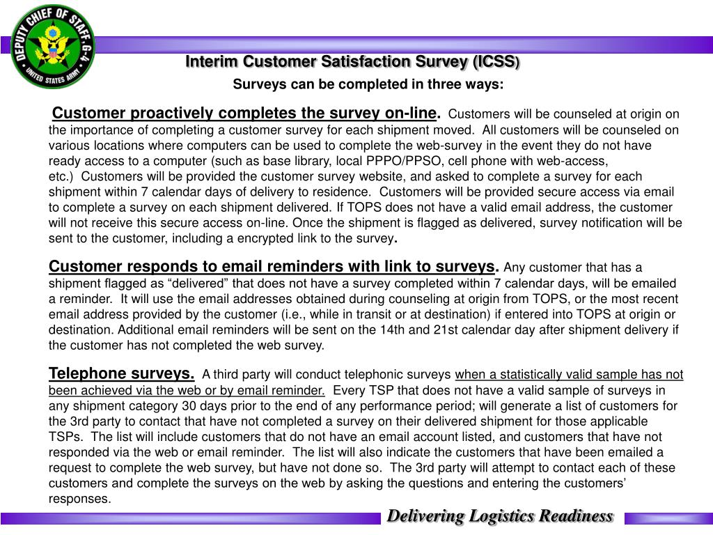 Interim Customer Satisfaction Survey (ICSS