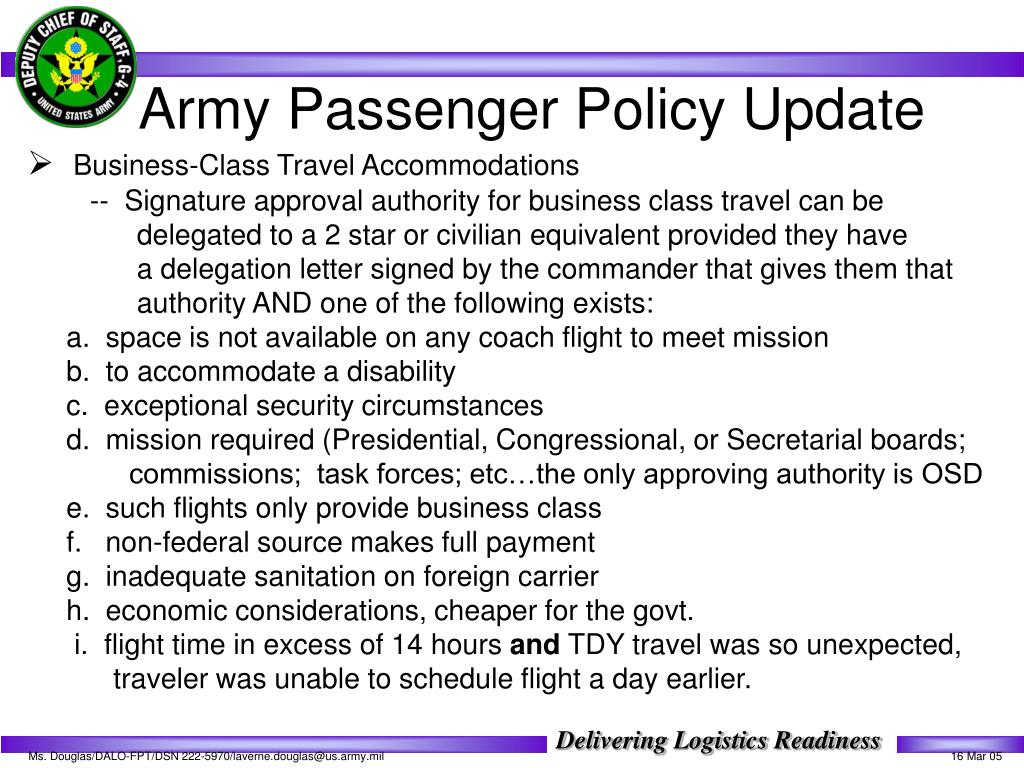 Army Passenger Policy Update