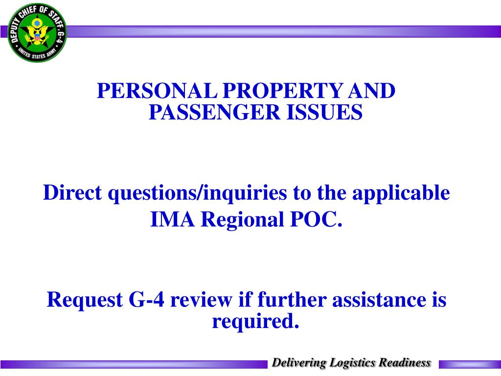 PERSONAL PROPERTY AND PASSENGER ISSUES