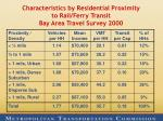 characteristics by residential proximity to rail ferry transit bay area travel survey 2000