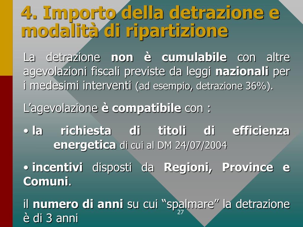 4. Importo della detrazione e modalità di ripartizione