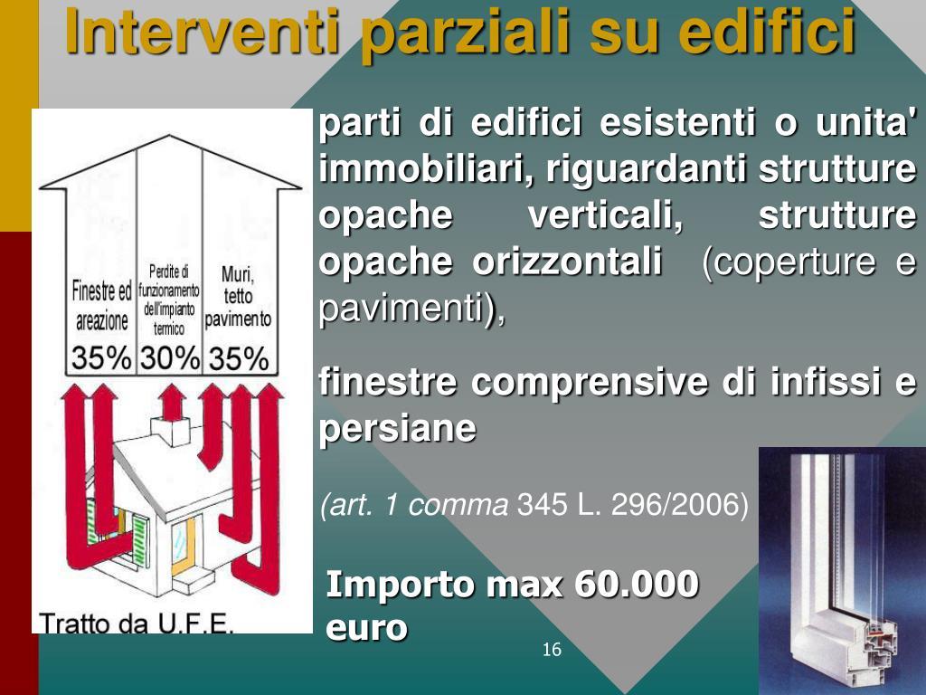 Interventi parziali su edifici