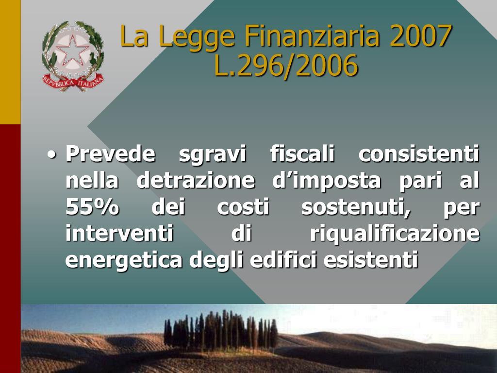 La Legge Finanziaria 2007