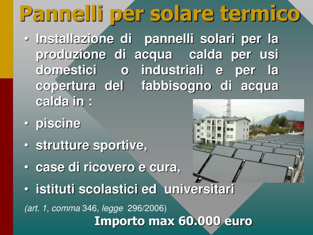 Pannelli per solare termico