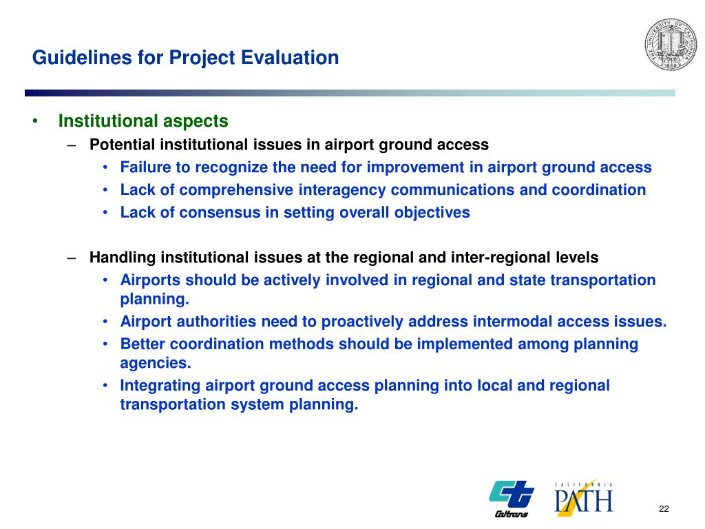 Guidelines for Project Evaluation
