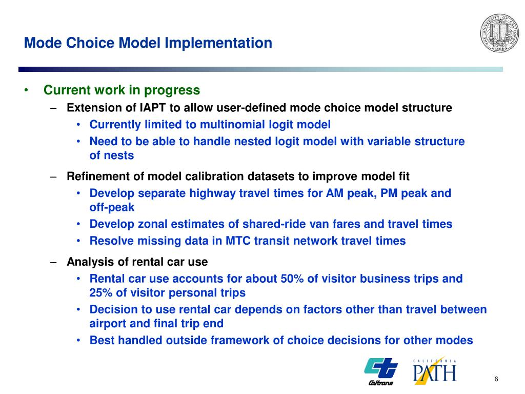 Mode Choice Model Implementation