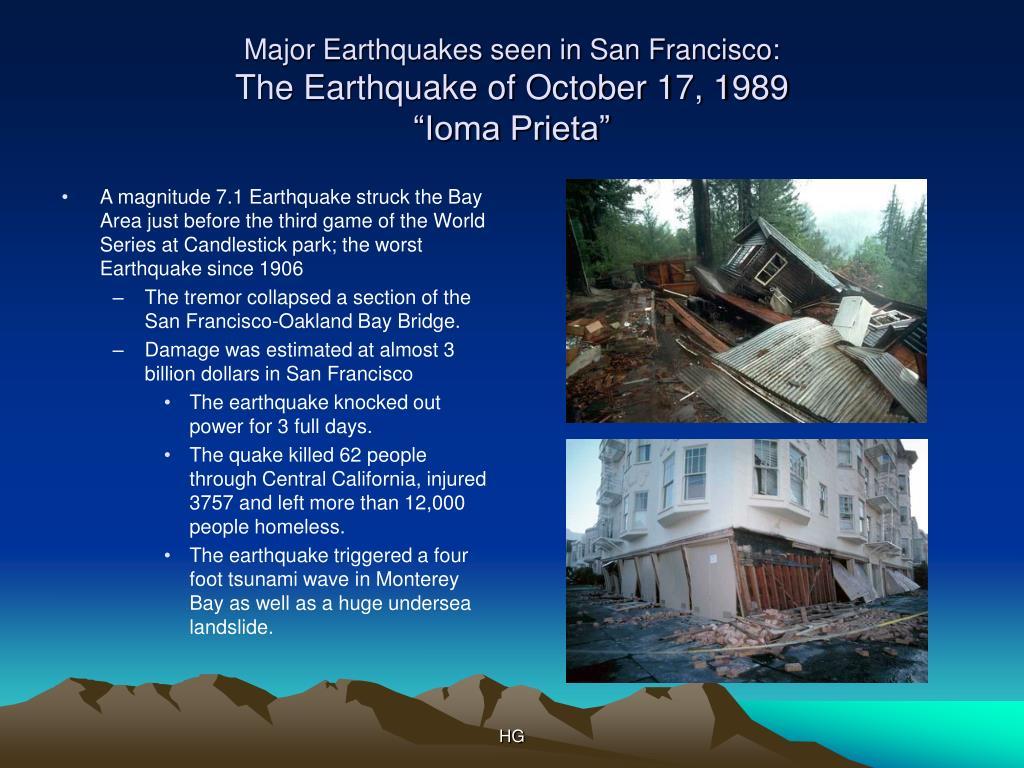 Major Earthquakes seen in San Francisco: