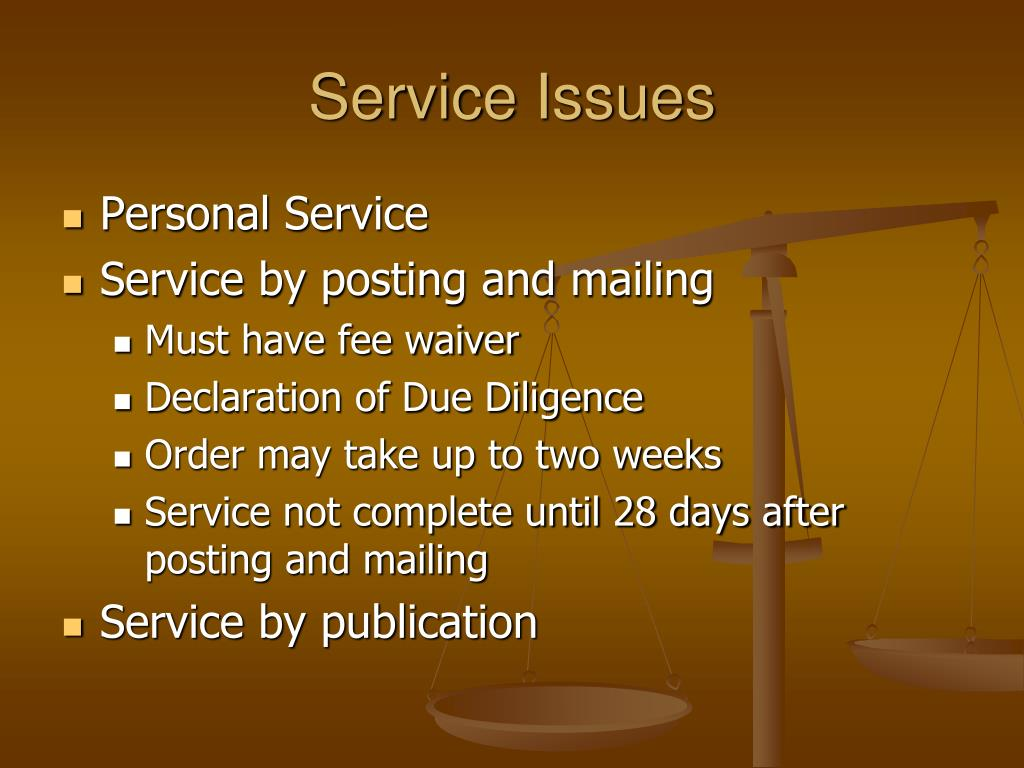 Service Issues