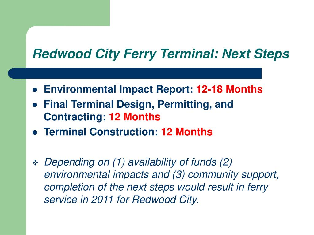 Redwood City Ferry Terminal: Next Steps