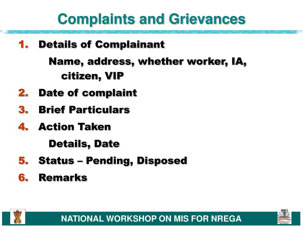 Complaints and Grievances