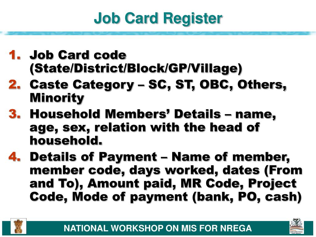 Job Card Register
