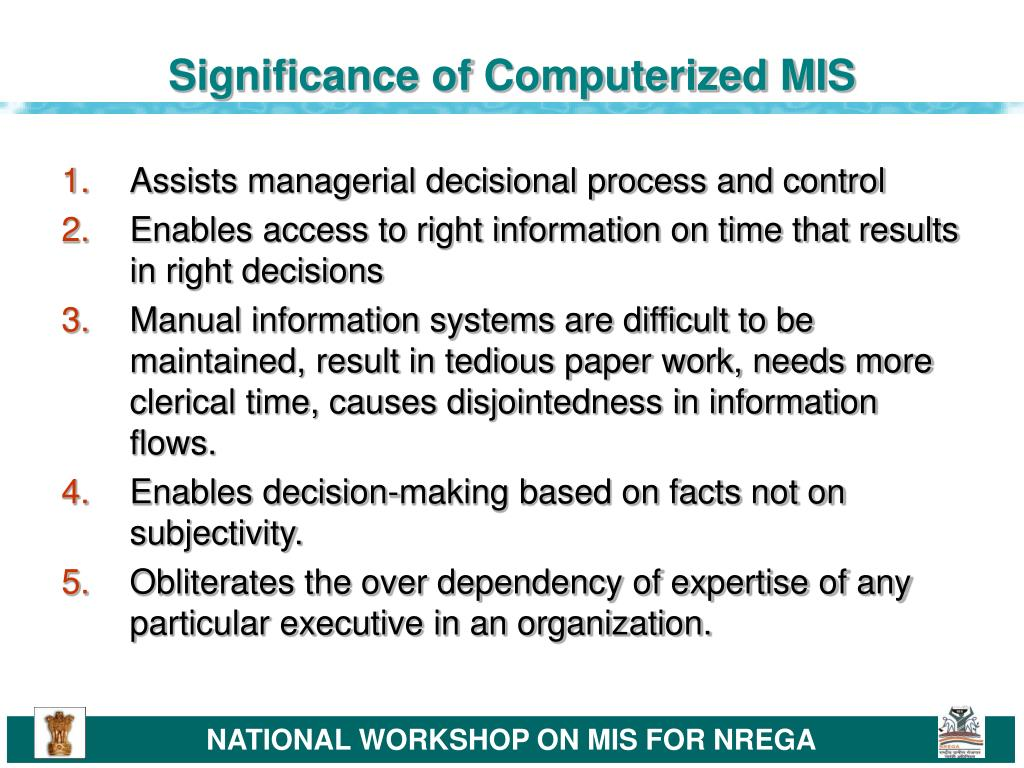 Significance of Computerized MIS