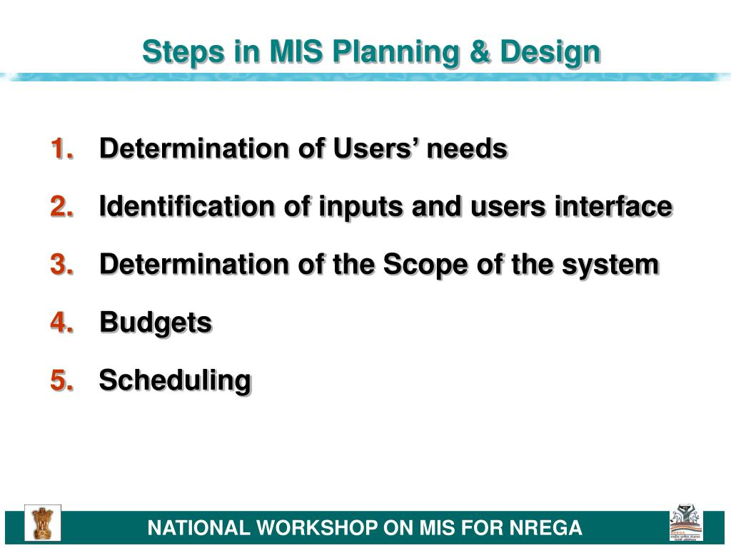 Steps in MIS Planning & Design