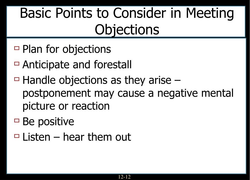 Basic Points to Consider in Meeting Objections