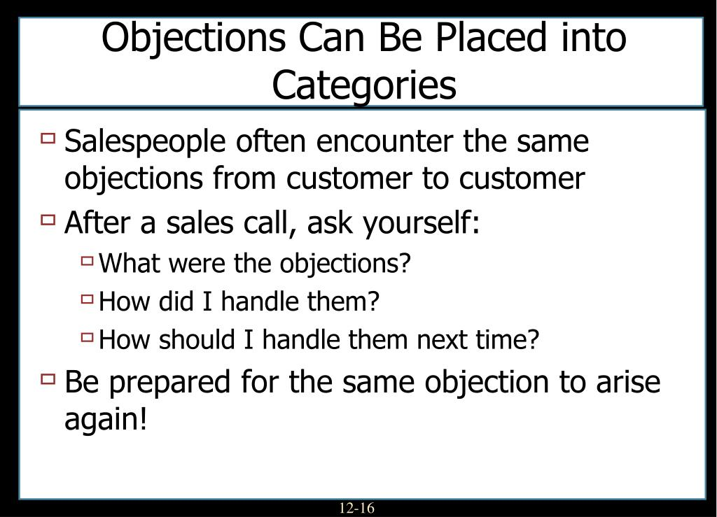 Objections Can Be Placed into Categories