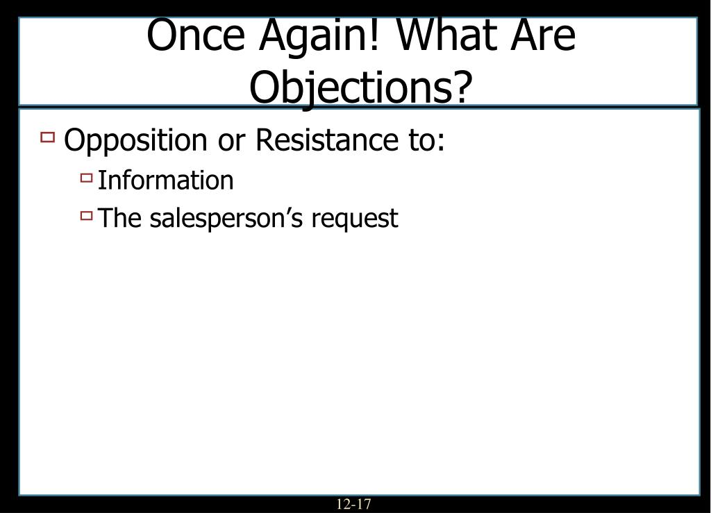 Once Again! What Are Objections?