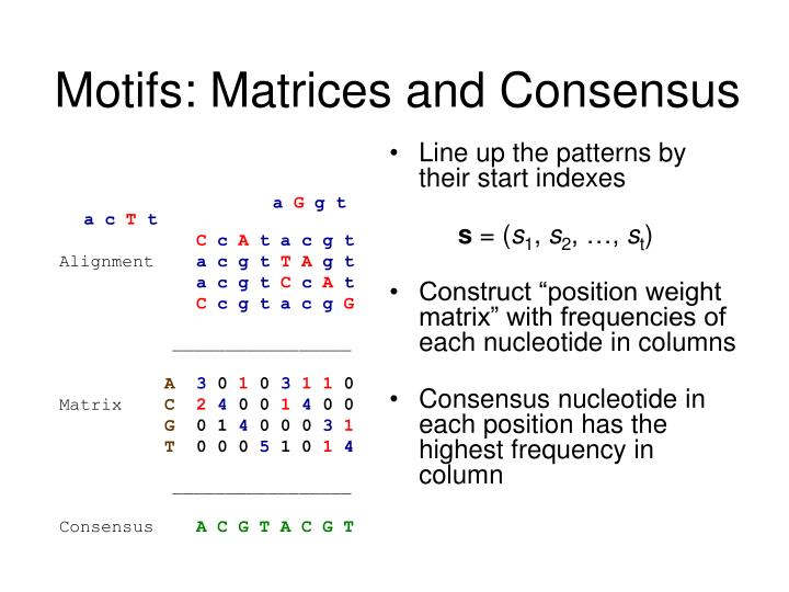 Motifs matrices and consensus