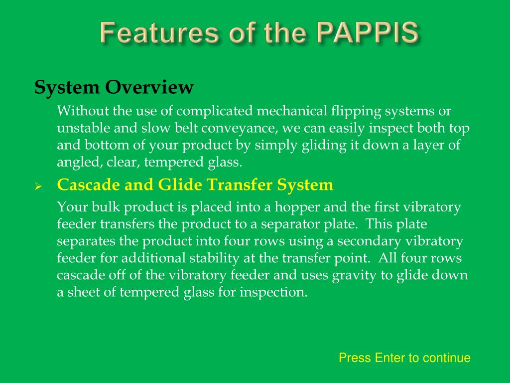 Features of the PAPPIS