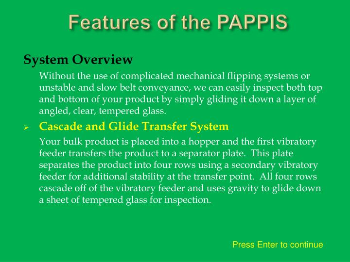 Features of the pappis3