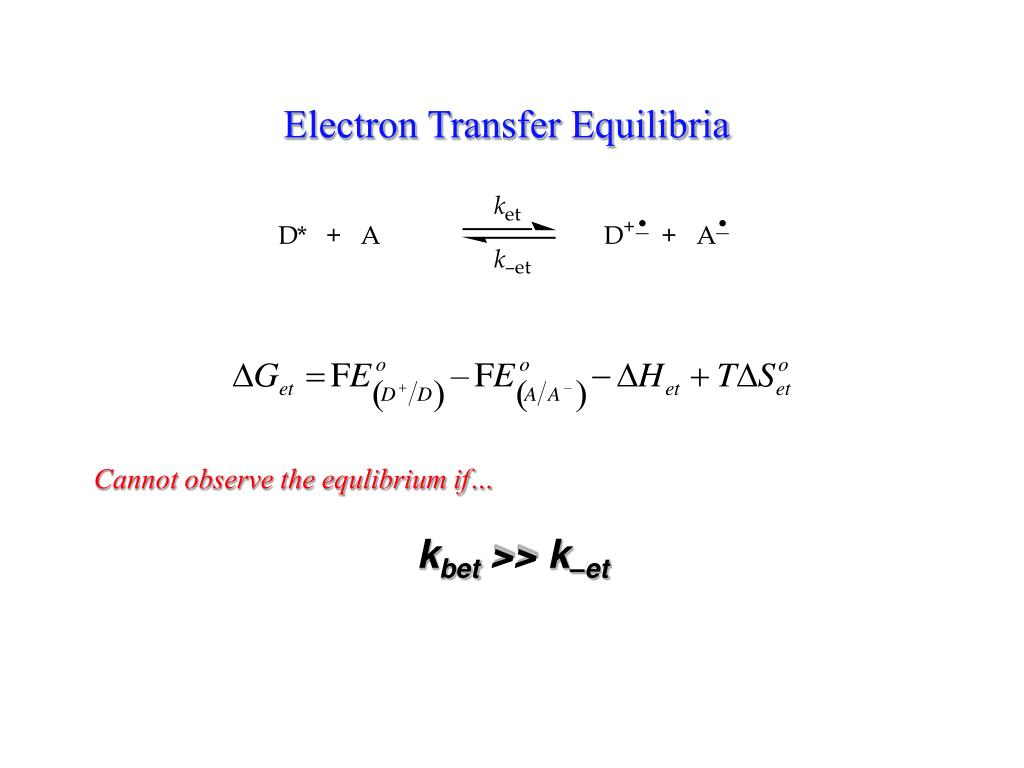 Electron Transfer Equilibria