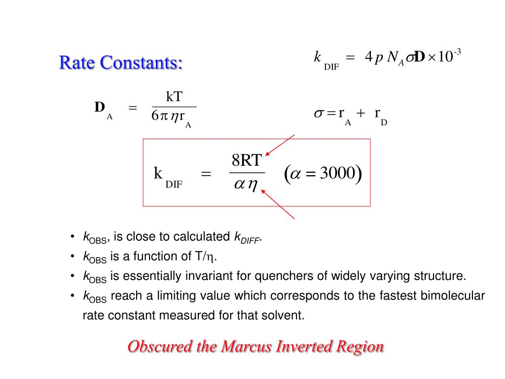 Rate Constants: