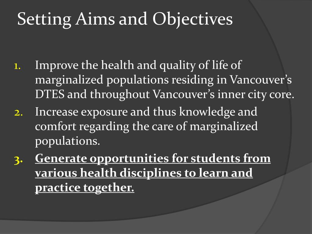 Setting Aims and Objectives